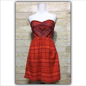 Roxy Fall Doll Red Cotton strapless dress, sz. XS